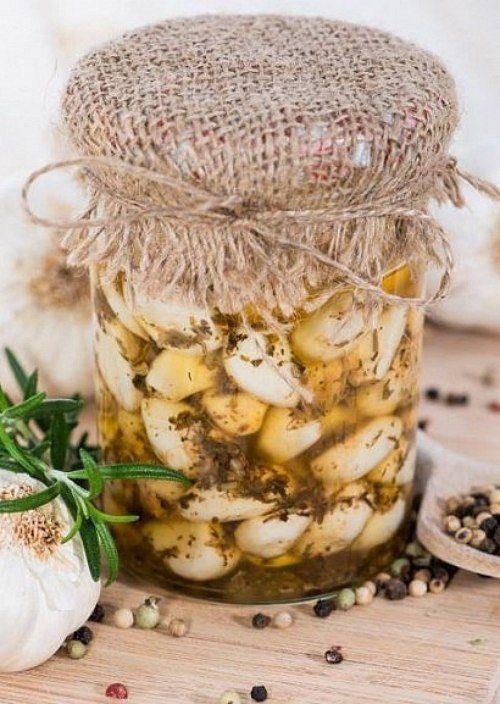 Чеснок в масле с травами | Чеснок, Рецепты и Масло