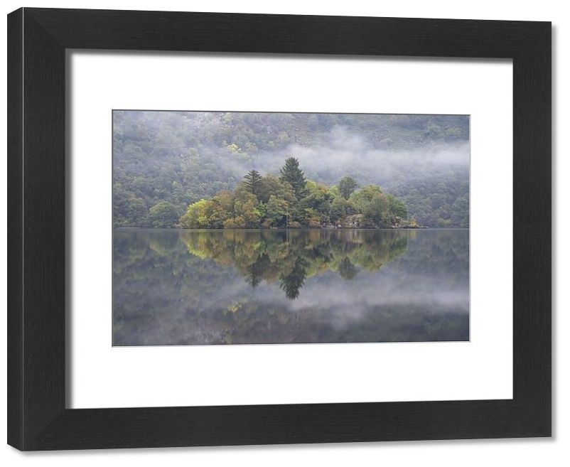 Framed Print-Forested island on Loch Lomond, Loch Lomond and the Trossachs National Park, Scotland, UK-14x12 inch Frame and mount made in the UK