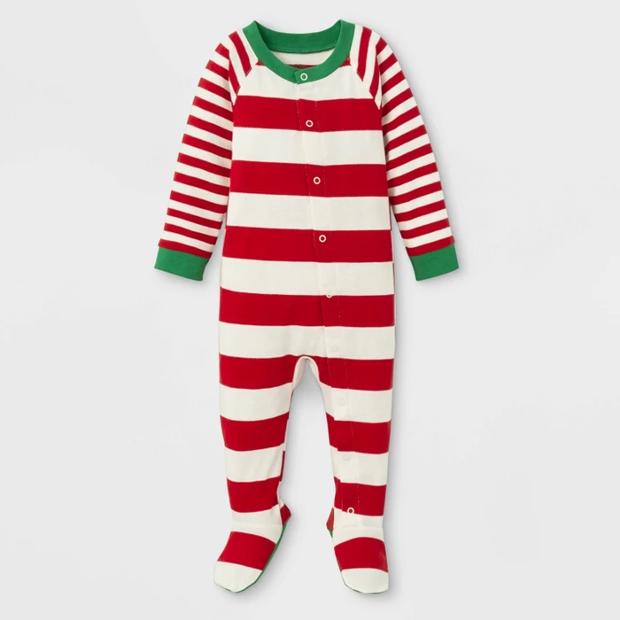 Baby Holiday Striped Footed Pajamas Red
