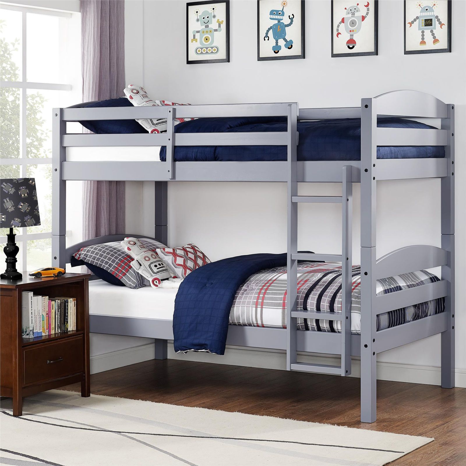 Stackable Twin Beds Twin Sized Bunk Bed Stackable And Separable With Step Ladder
