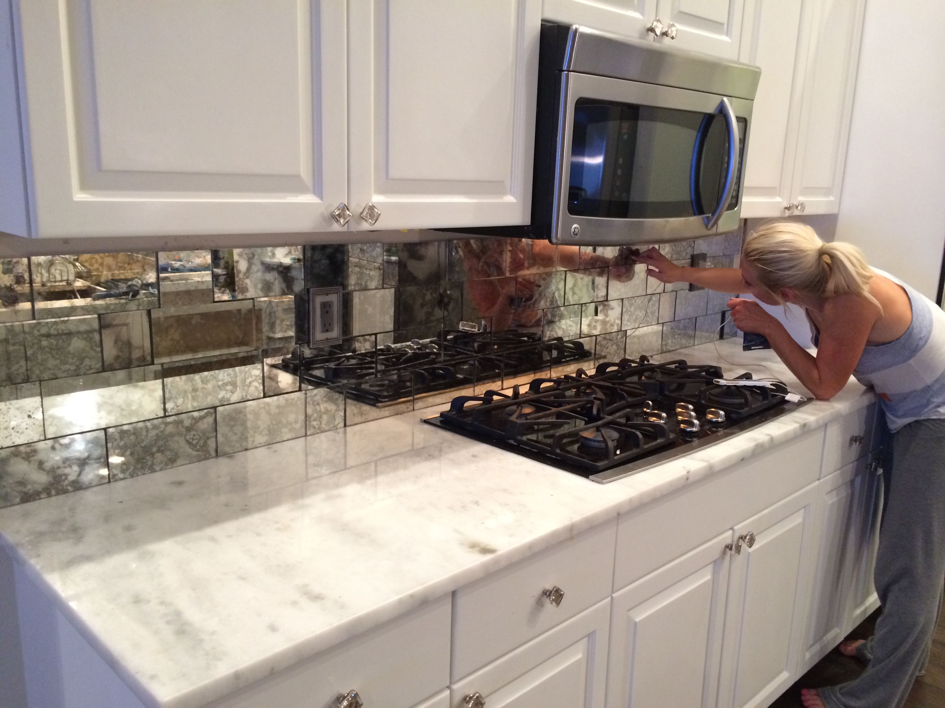 Antique Mirror Tiles Backsplash Installation