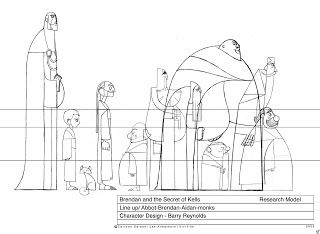 Living Lines Library: The Secret of Kells (2009) - Character Size Comparison