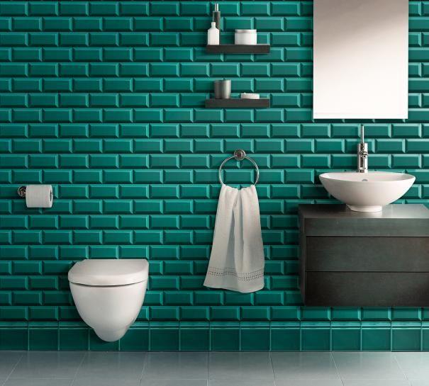Carrelage metro c ramique basement bathroom bathroom et metro tiles - Carrelage metro bleu ...