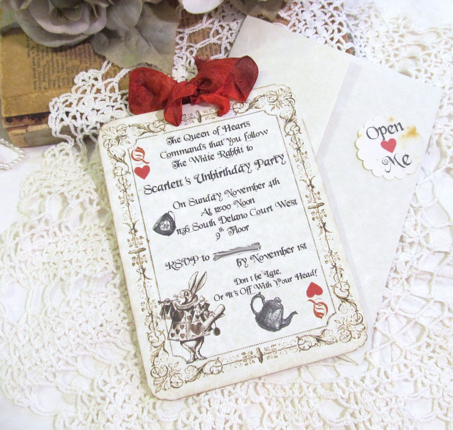 Alice Queen of Hearts Tea Unbirthday Party Customized Party ...