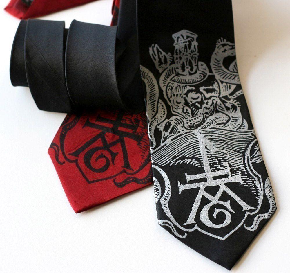 21e17ef41703 ExLibris skull and hourglass book imprint silkscreened screen printed  necktie from Cyberoptix Tie Lab