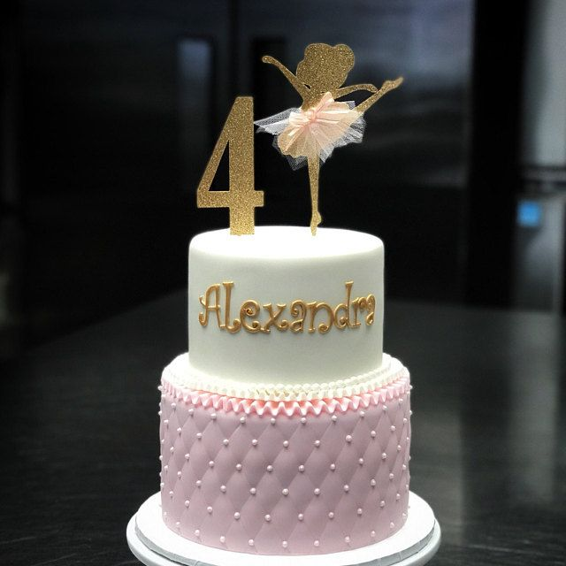 Pink and Gold Ballerina Birthday cake for 4th Lakyn 1st Birthday