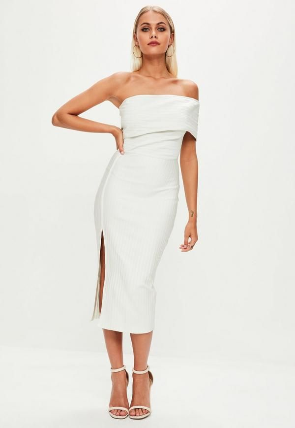 4130ef56095a White bandage midi dress with one shoulder, bodycon design, ribbed fabric  and back zip fastening.