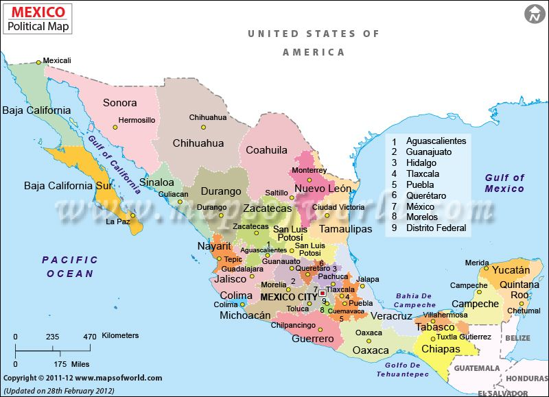 political map of mexico features states capitals international boundaries and major cities