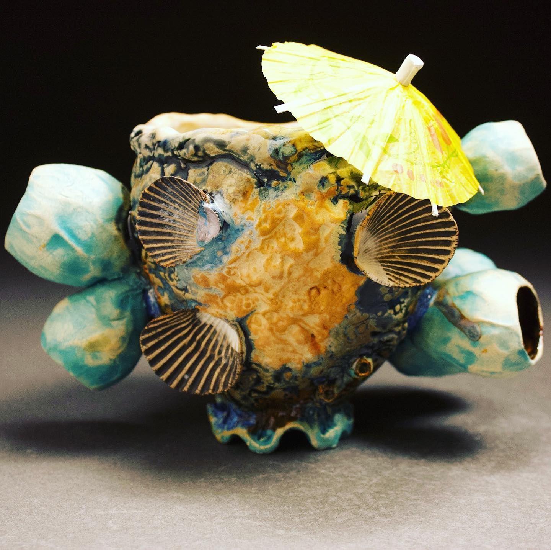Happy Summer teachers! Cheers #mvbceramics #ceramics #pottery #cup #mug #cheers #umbrella #handcrafted #potterylife #potterylove #barnacles #shells #beach #seaglass #sand #blue #clay #sculpture #tikibar #artteacher #teacher #art #pottersofinstagram #etsy #etsyshop
