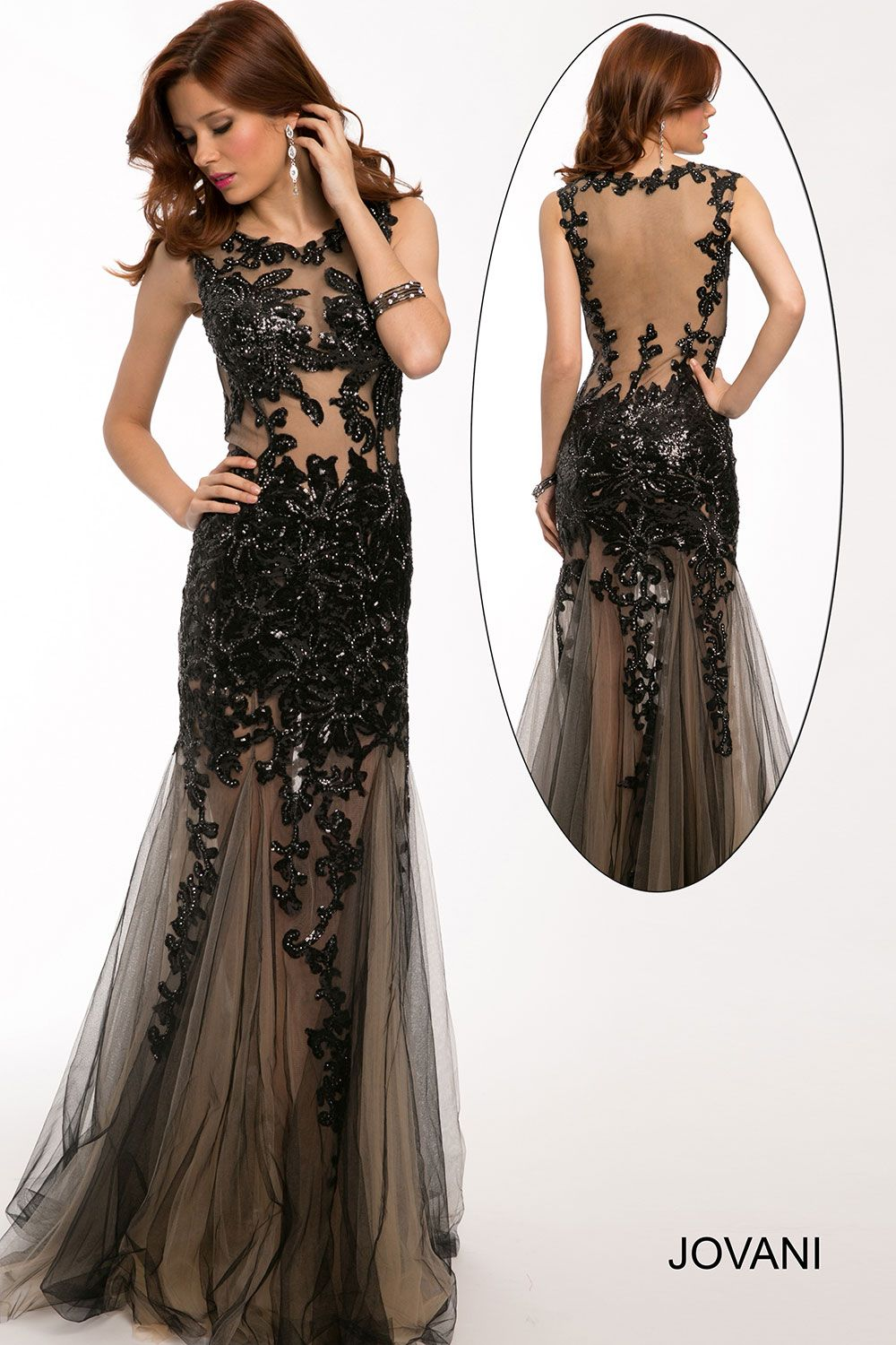 Black and Nude Prom Dress by Jovani- This sleeveless fit and flare ...