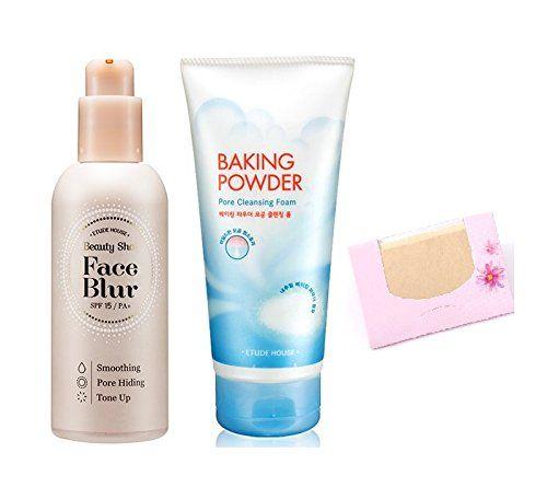 BUNDLE - Etude House Beauty Shot Face Blur   Etude House Baking Powder Pore Cleansing Foam   SoltreeBundle Natural Hemp Paper 50pcs