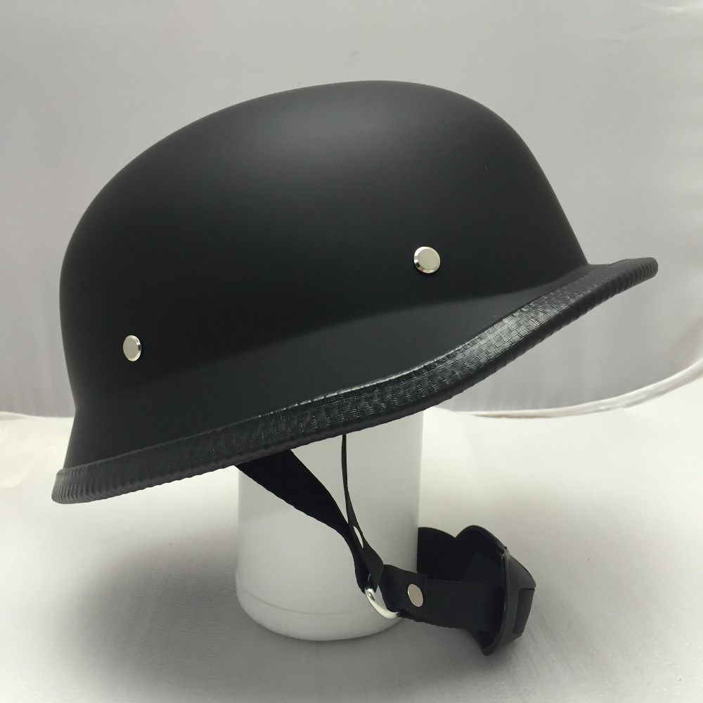 Motorcycle Half Helmet Low Profile WW2 Style German Soldier Biker Open Face Dot