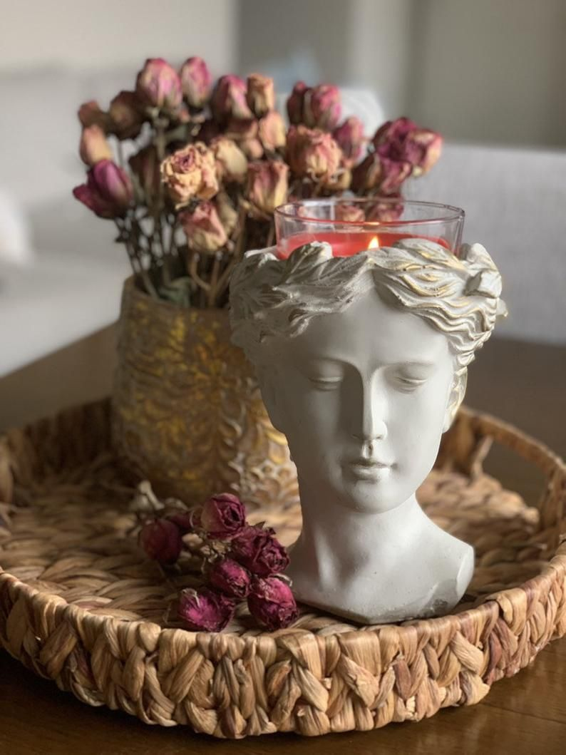 Greek Goddess Female Statue Head Concrete Flower P