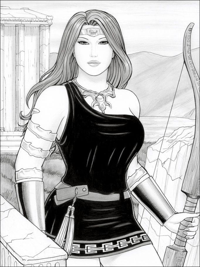 Greek Goddess Artemis Drawing Cartoon Bow Of Artemis By