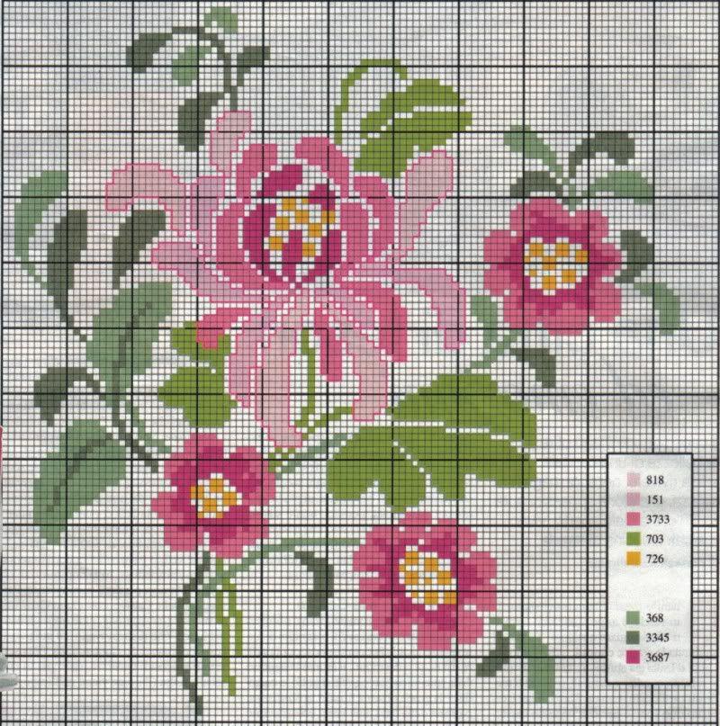 схема для вышивки цветов