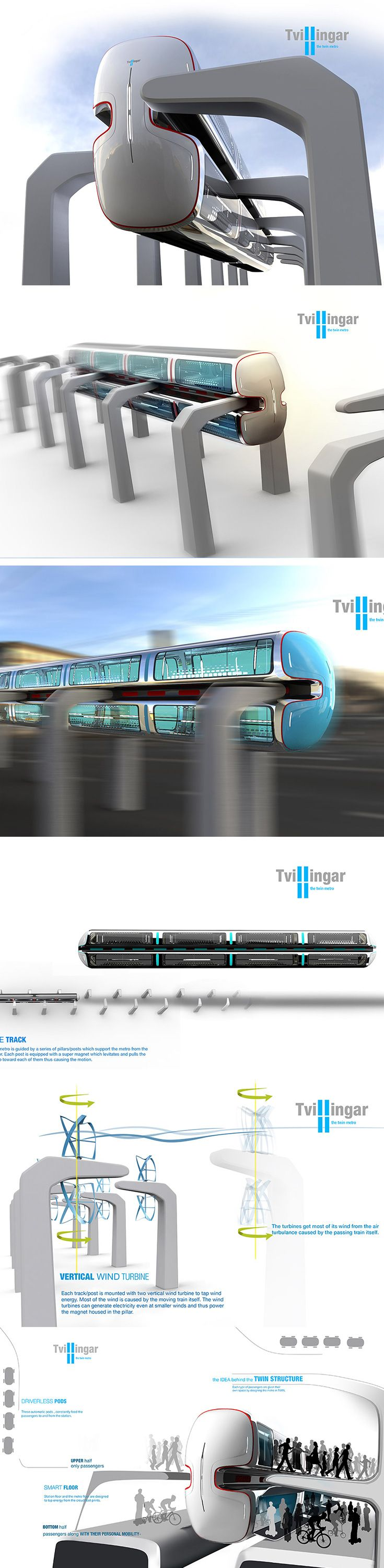 Tvillingar is a literal twist on the metro train that flips the archetypical station and maglev halfway upside down! Unlike classic designs where the cars sit on top of a track, the inverted train is secured on the side and levitated with super magnet tech between its upper and lower decks. This requires a unique column rail system to support and elevate the double decker train above ground.