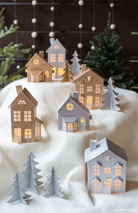 3D Paper Christmas Village Christmas villages, DIY Christmas and Craft - christmas town decorations
