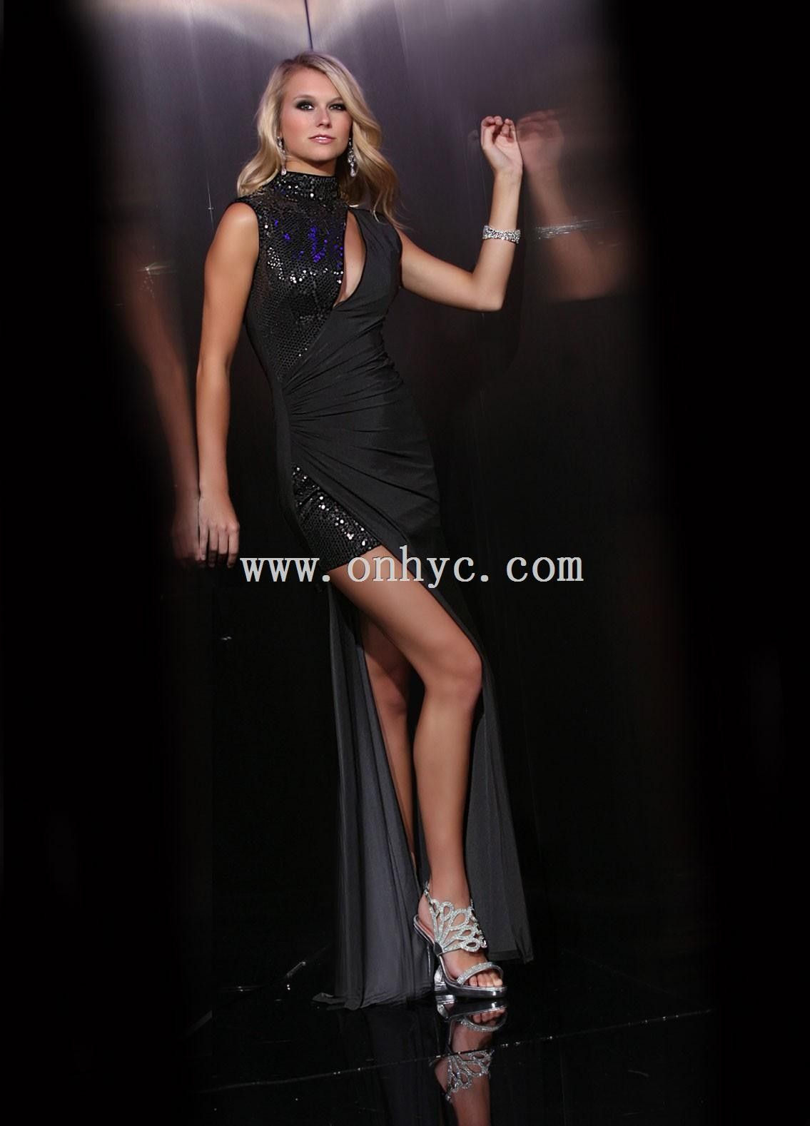 High neck high low black taffeta sheath column cocktail dress prom