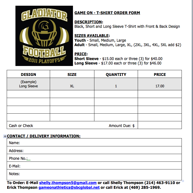 Football Shirt Order Form Example  SheS A Team Mom