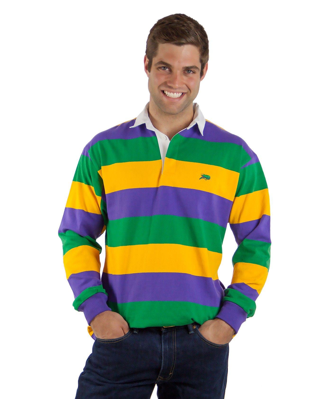 6b75b110 Mardi Gras Rugby Full Stripe New Orleans Mardi Gras, Mardi Gras Outfits,  Gold Stripes