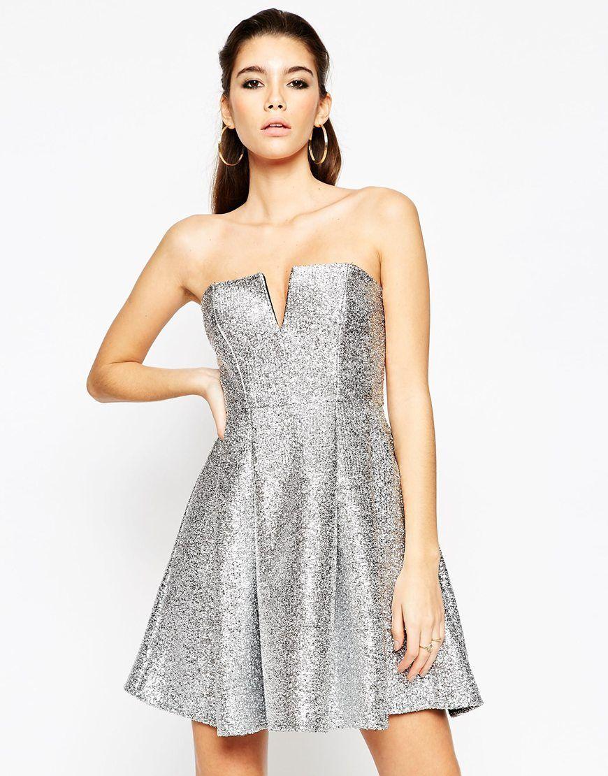 f41694d5ca8d ASOS NIGHT Metallic Fluff Bandeau Mini Dress