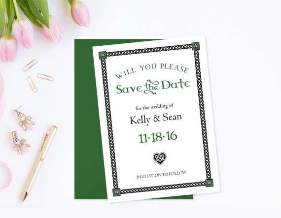 Irish Wedding Save the Date Template Wedding Announcement Irish - wedding announcement template