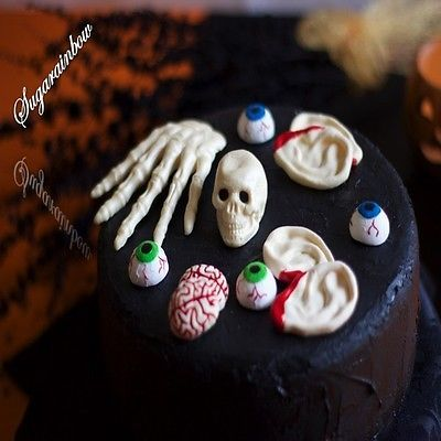 edible halloween cake decorations skull skeleton hand brains cupcake toppers view more