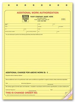 Additional Work Authorization Form  General Contractor Forms
