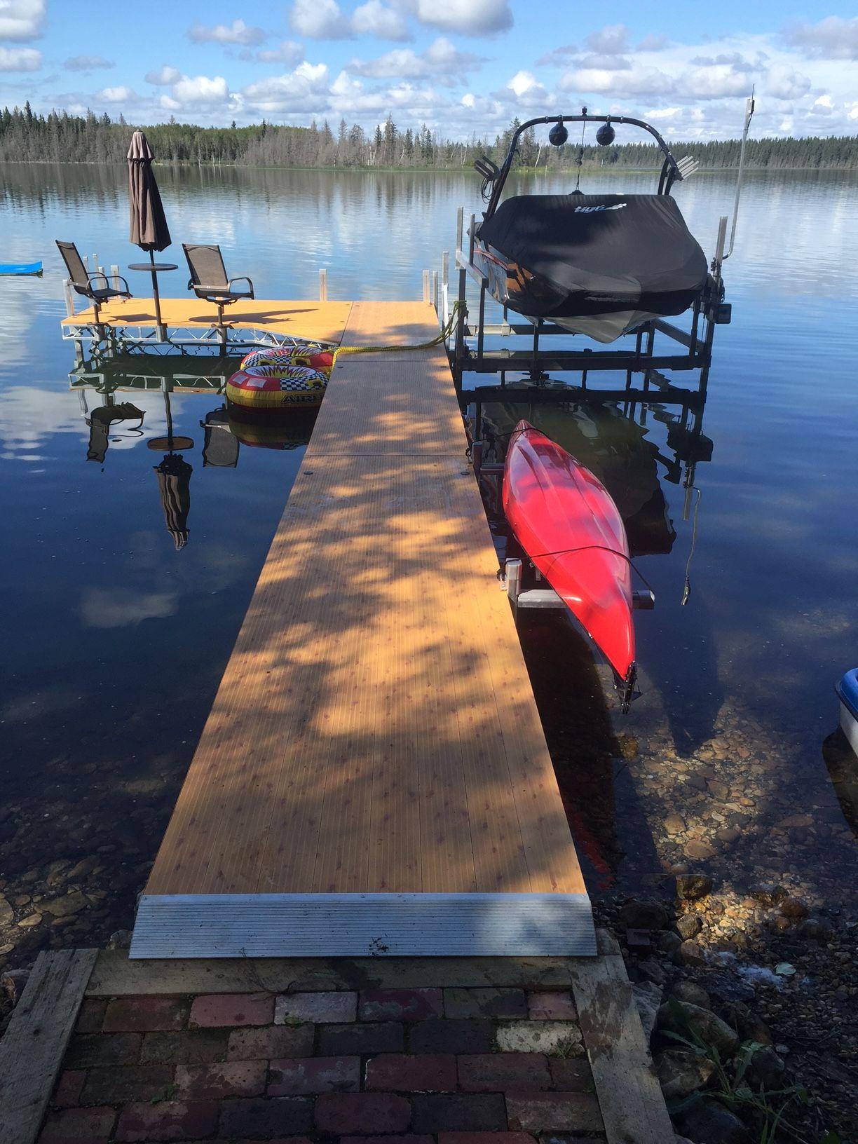 FLOE Dock, Lift, Chairs, Table And Umbrella And Kayak Rack