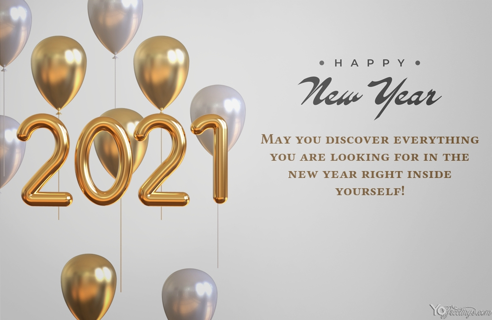 Happy New Near 2021 Card With Balloons Happy New Year Cards New Year Greeting Cards Cards