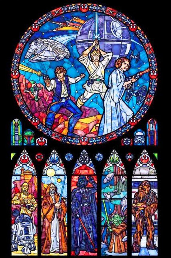 Photo of BUY 2, GET 1 FREE! Star Wars Stained Glass 030 Cross Stitch Pattern Counted Cross Stitch Chart, Pdf Format, Instant Download /231358