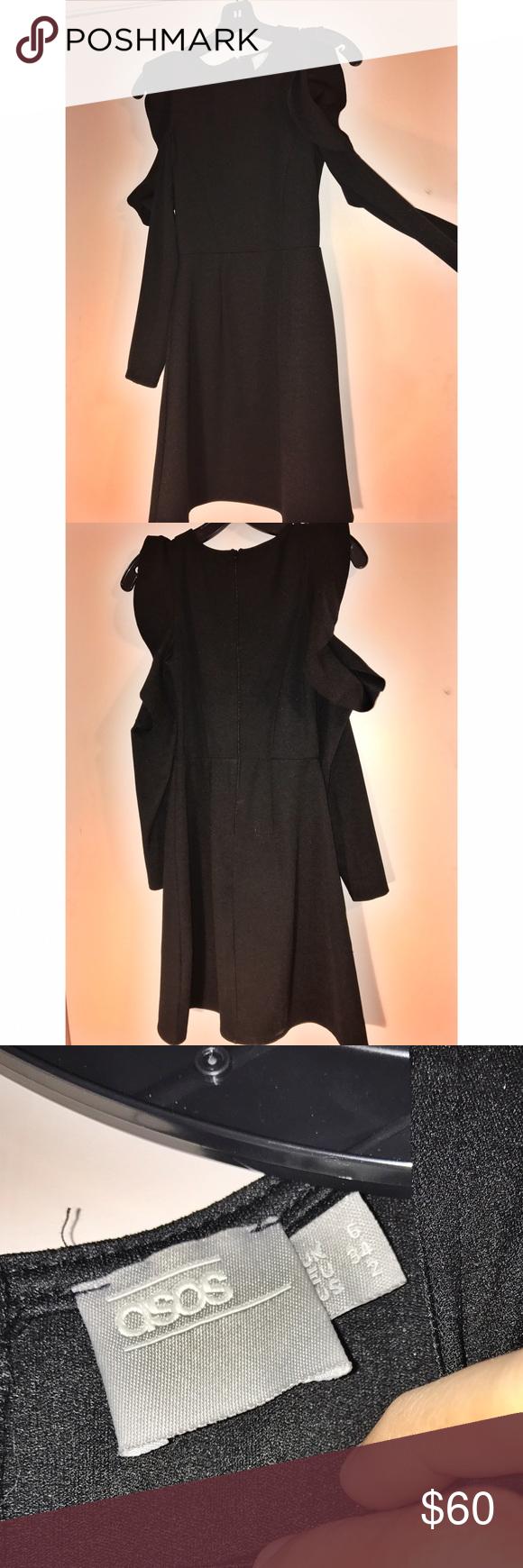 Hpasos long sleeve cold shoulder dress ruffle dress cold