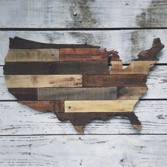Rustic wooden USA cutout made from pallet wood by ...