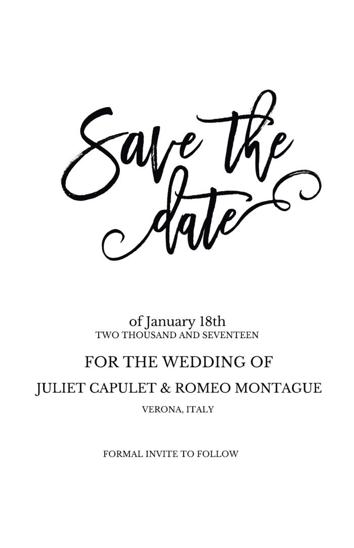Print Romeo + Juliet Free Wedding Printable Invitatino Suite DIY - Formal Invitation Letters
