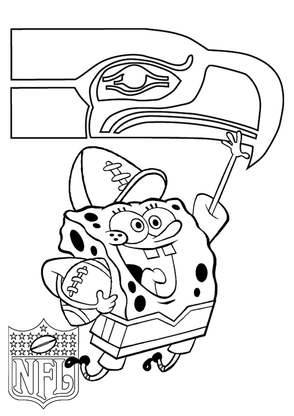 Seattle Seahawks And Spongebob Coloring Pages Symbol Coloring