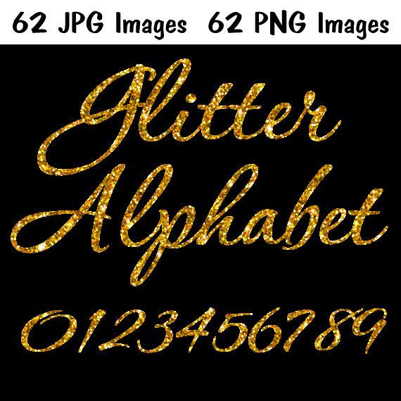 Gold Glitter Alphabet • INSTANT DOWNLOAD• 124 IMAGES •Glitter