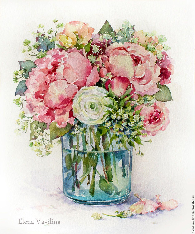Красивые букеты цветов гуашью