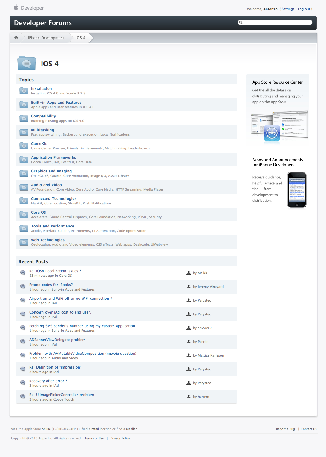 Developer Forums: iOS 4 (05 07 2010) | Apple com sick