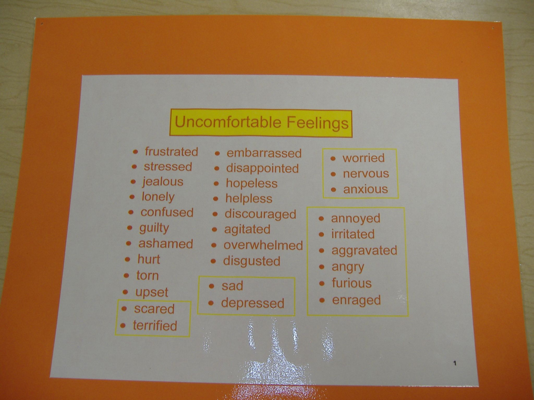 Uncomfortable Feelings Poster Post It