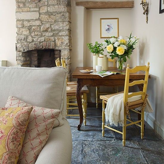 Eclectic Cottage Living Room: Rustic Country Living Room With Stone Fireplace