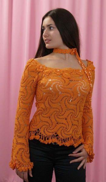 Hardal Renkli Uzun Kollu Yeni Orgu Yazlik Bayan Bluz Modeli Bluz Modelleri Orgu Bolero Tig