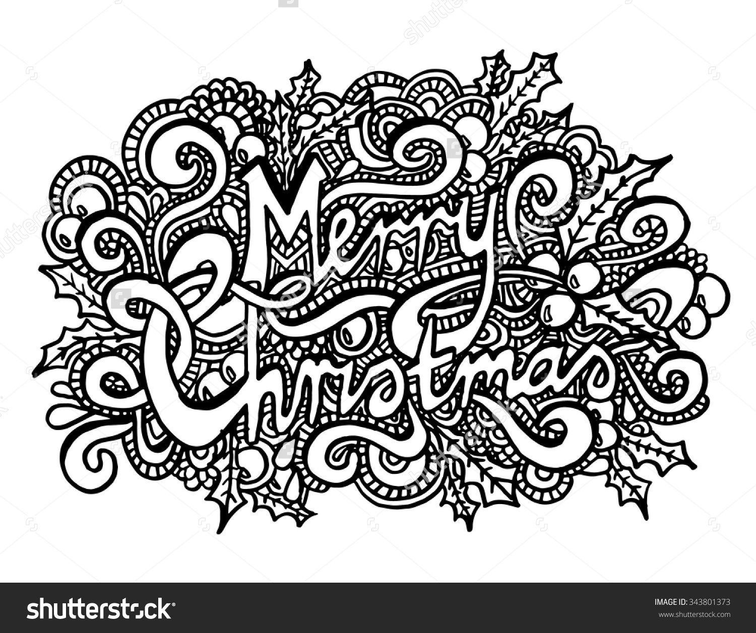 Merry Christmas Coloring Page Zentangle ✐adult Colouring