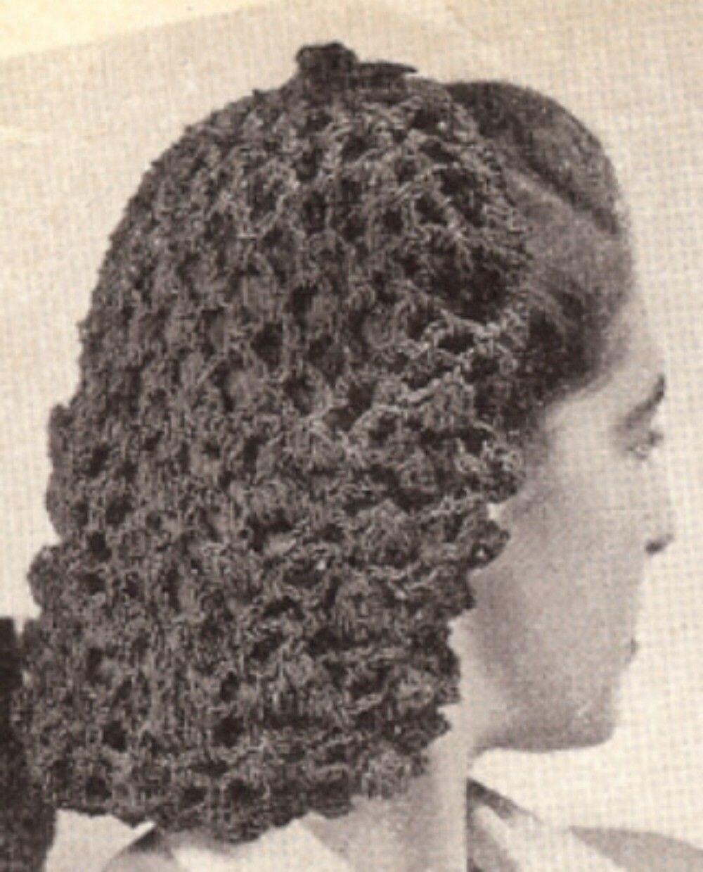 Vintage Crochet Pattern Snood Hairnet Hair Net Fishnet Crochet