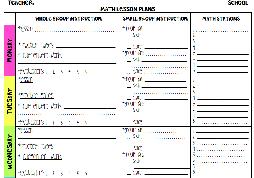Grade 1 Common Core Math Lesson Plan Template With Drop Down Menus
