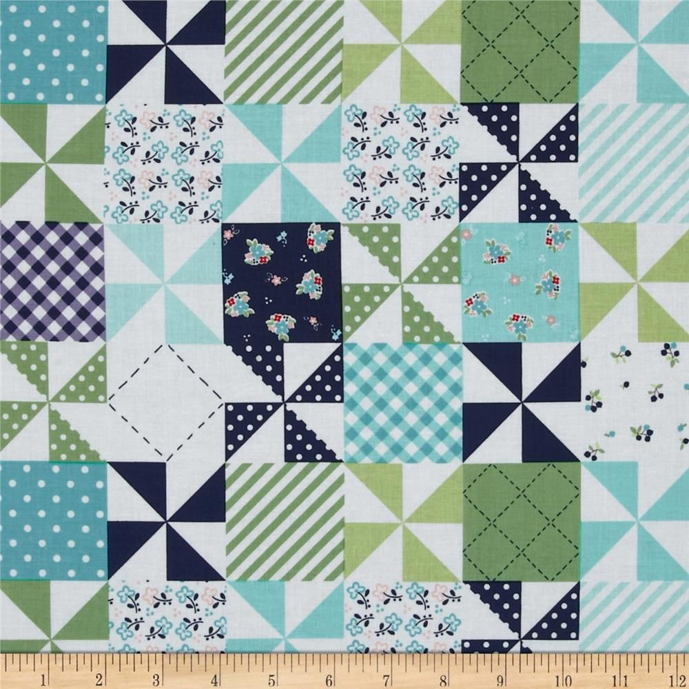Riley Blake Country Girls Country Patchwork Navy from @fabricdotcom  Designed by Tasha Noel for Riley Blake Designs, this fabric is perfect for quilting, apparel and home decor accents. Colors include lime, aqua, white and navy.