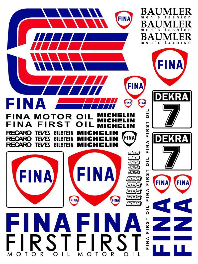 Fina Motorsport Rc Car Vinyl Sticker Sheet 7x5inches Etsy Logos Etsy Pub