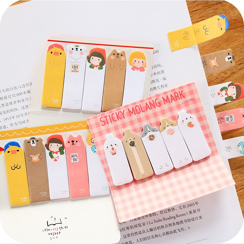 Cute Stationery Self Adhesive Post It Notes Set Cartoon Memo Pad Sticky Planner Sticker