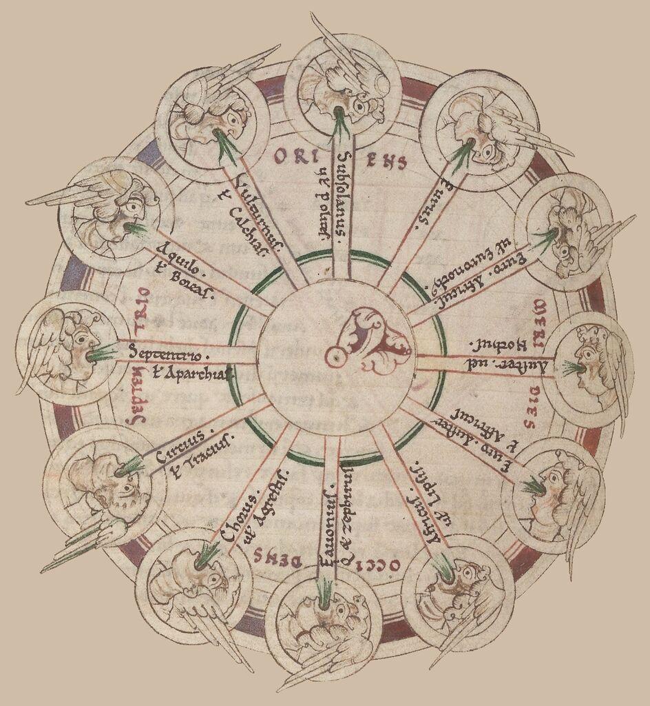 Twelve Wind Aristotle Aparctia Mese Caecia Apeliote Euru Thrascia Greek Mythology Sciron No And Roman Vintage World Map Paraphrase Definition Francais Francai