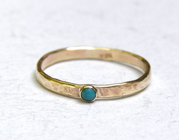 Stacking ring Engagement Ring blue stone Turquoise ring fine 14k
