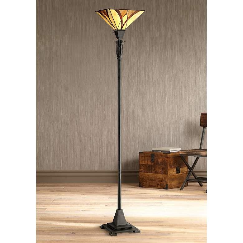 Quoizel Asheville Valiant Bronze Tiffany Style Torchiere Floor Lamp 1m297 Lamps Plus Floor Lamp Design Traditional Floor Lamps Tiffany Floor Lamp Tiffany style torchiere floor lamps
